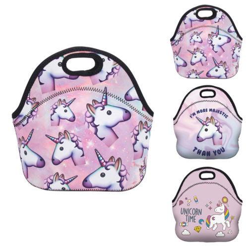 Portable Zipper Neoprene Cartoon Unicorn Print Tote Insulated Lunch Thermal Cooler Bag Travel Food Picnic Lunchbox Storage Bag