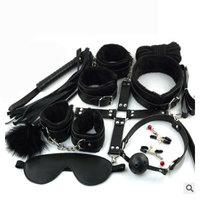10pcs/set Chastity lock Nipple Clamps Sexy Toys Adult Plush black Suit Blindfold and Handcuffs lock keyed padlocks