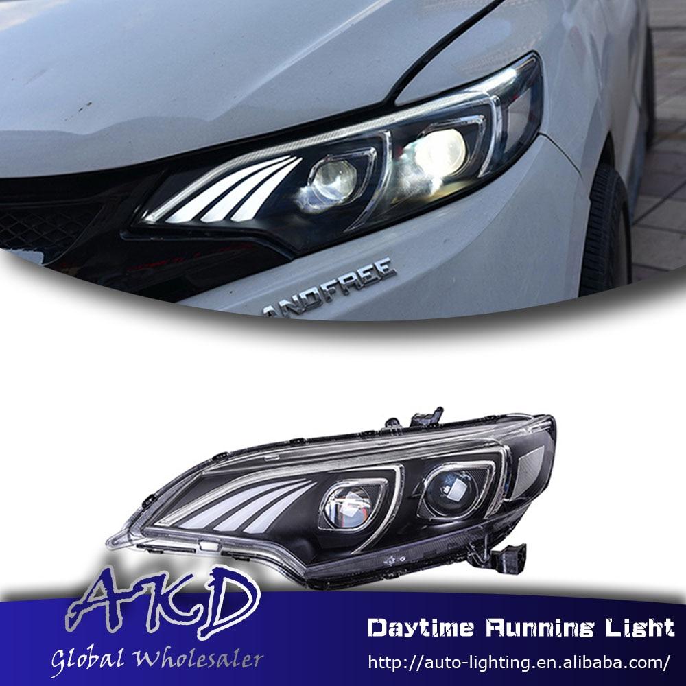 Akd car styling led headlight for honda jazz fit gk5 headlamp for jazz fit 2014