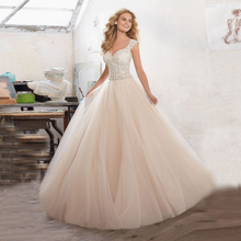 Romantic V Neck Wedding Gown with Crystal Beaded Sleeveless Chapel Train Champagne Ball Gown Wedding Dress Lace 2017 Cheap A115