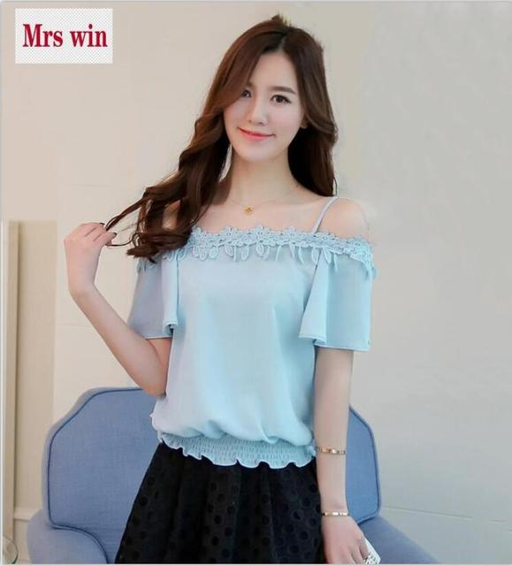 00b6af8ce706f Hot Sell One Word Neck Off Shoulder Tops Fashion Women Clothing 2017 New  Summer Chiffon Shirt Short Sleeve Lace Lacework Shirt