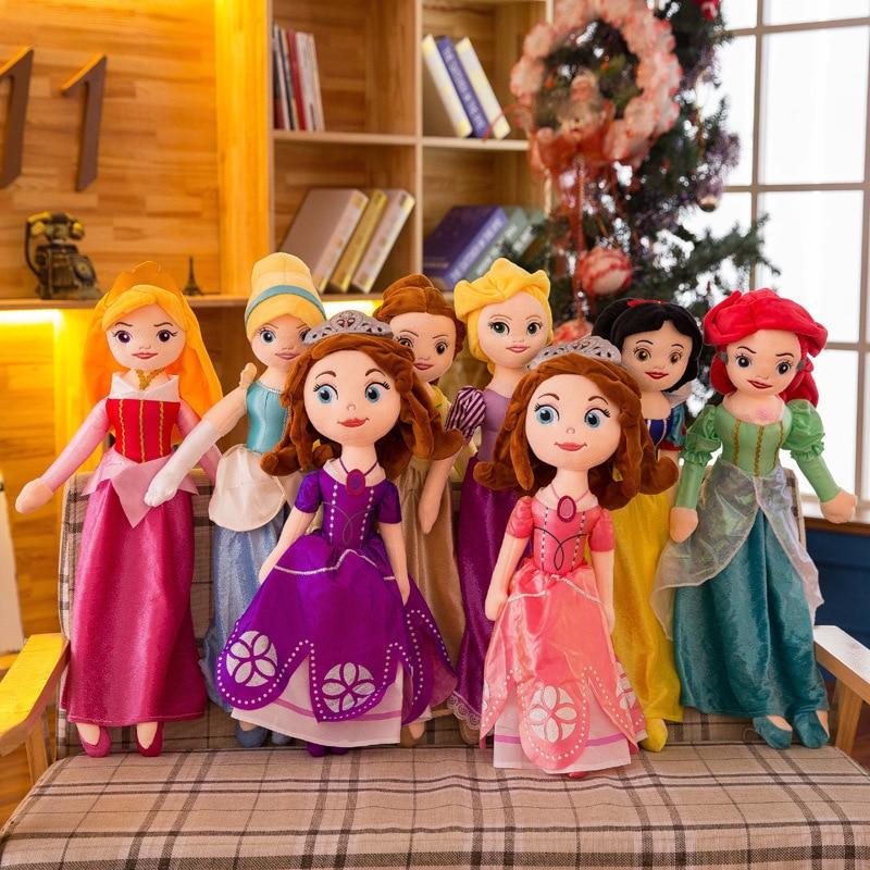 50-65 CM Disney Snow Queen Elsa Stuffed Doll Princess Anna Elsa Sophia Princess Doll Toys Stuffed Girl Plush Toys For Children