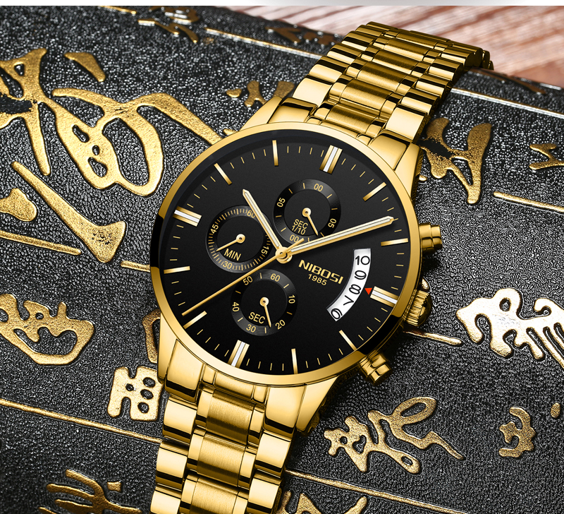 2018 NIBOSI Gold Quartz Watch Top Brand Luxury Men Watches Fashion Man Wristwatches Stainless Steel Relogio Masculino Saatler    (9)