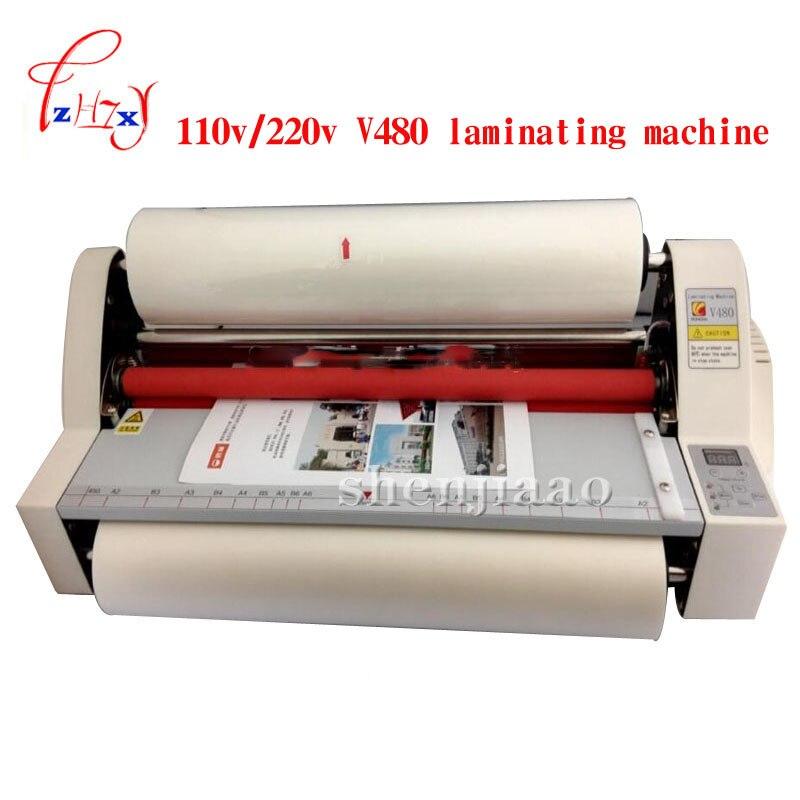 110V/220V 480mm Digital Four Rollers Hot&Cold Roll Laminating Machine Laminator V480 photo A3 paper laminator 1pc
