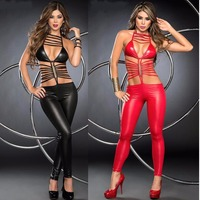 2017 New Hot Sexy Catwomen Faux Leather Latex Zentai Catsuit Smooth Wetlook Jumpsuit Hollow Out Elastic