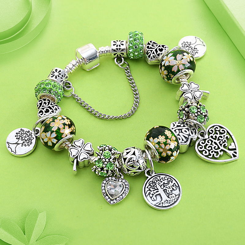 ANOMOKAY Dropshipping Green Tree Of Life Charm Pan Bracelet