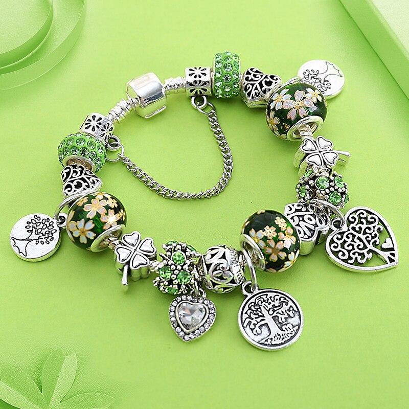 Dropshipping Green Tree of Life Charm Bracelet Silver Color Heart Flower Bead Bracelets & Bangles Fashion Jewelry Gift пандора браслет с шармами