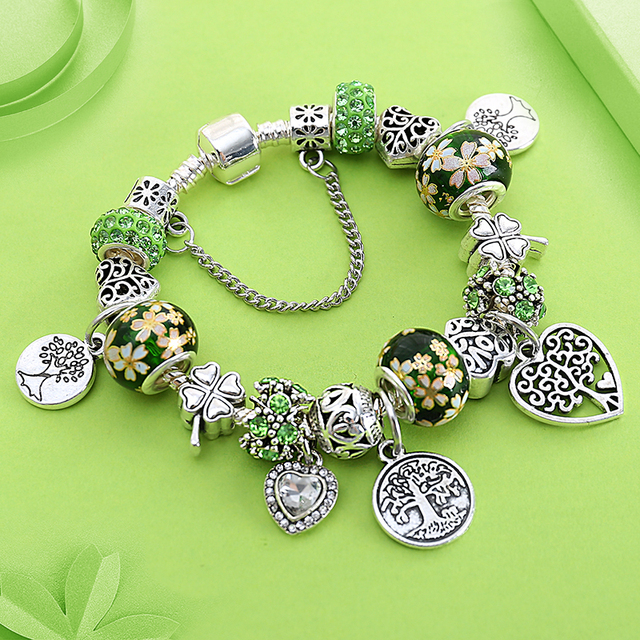 Dropshipping Green Tree Of Life Charm Pandora Bracelet Silver Color Heart Flower Bead Bracelets Bangles