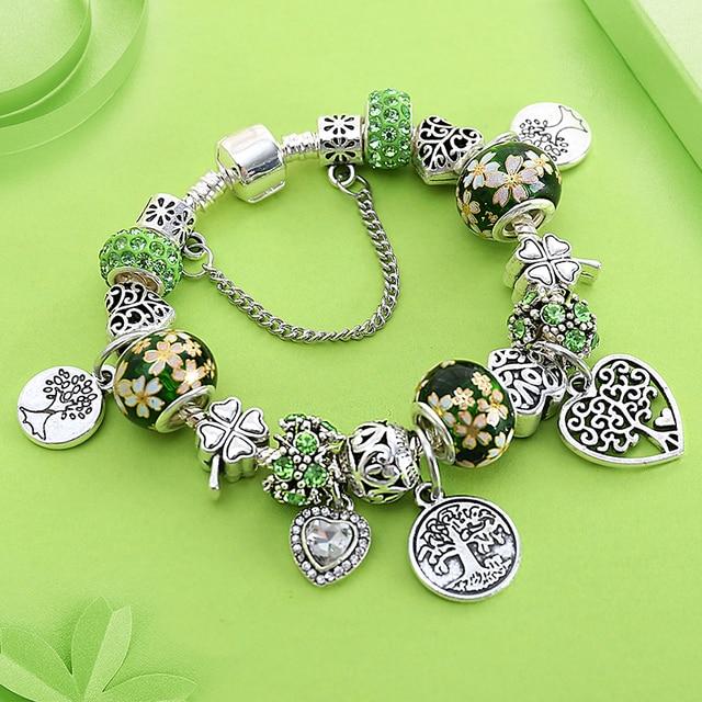 Dropshipping ירוק עץ של חיים קסם פאן צמיד כסף צבע לב פרח חרוז צמידים & צמידי תכשיטים מתנה