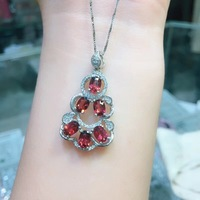 Cross style natural ruby necklace, multi color, 925 silver high end color treasure.