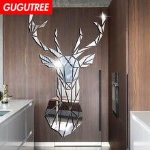 Decorate 3D deer art wall mirror sticker decoration Decals mural painting Removable Decor Wallpaper LF-1904 deer 3d wall sticker