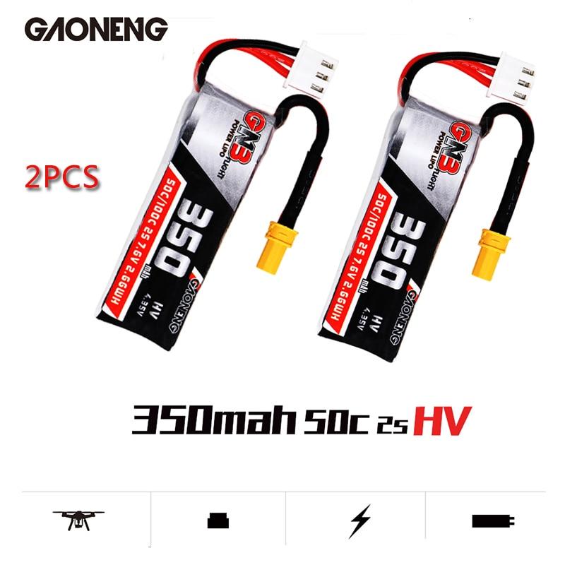 Gaoneng gnb 350 mah 2 s 7.6 v hv 4.35 v 50c/100c lipo bateria xt30 plug para beta75x rc zangão fpv corrida