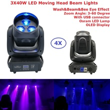 4 Unit Carton Package Zoom LED Moving Head Wash Lights 3X40W RGBW 4IN1 Osram Lamp Beam With USB Connector