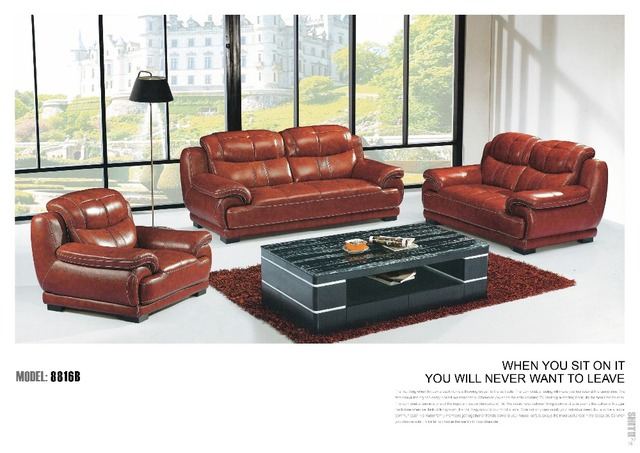 0414 Korn Leder Sofa 3 2 1 Sitzer Sofa Für Wohnzimmer In 0414
