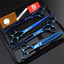 """Fioletowy smok 8 """"profesjonalne narzędzia zestaw Pet nożyczki do pielęgnacji psów zestaw proste i zakrzywione i nożyce do cieniowania włosy zwierząt cięcia"""