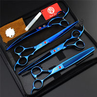 Purple Dragon 8 Professional Pet Dog Grooming Scissors Set Straight Curved Thinning Shears Animals Hair Cutting
