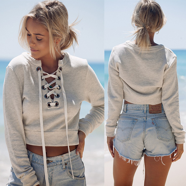 Women's Lace Up Crop Top Hoodie