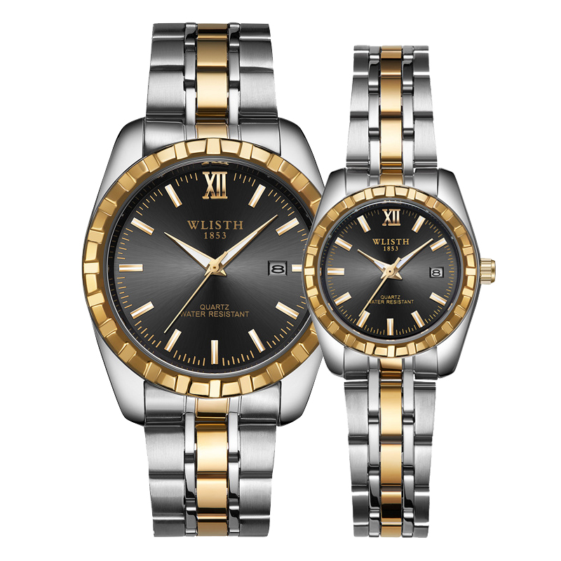 2020 New Couple Watch Men Women Quartz Watch Luxury Brand Stainless Steel Waterproof Date Luminous Lover's Watch Box Party Gift
