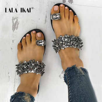 LALA IKAI Rhinestone Women Slippers Summer Outdoor Crystal Bling Beach Ladies Slides Fashion Flat Shoes 014A3725-4