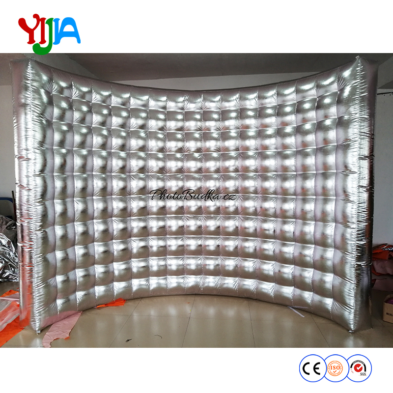 Take Home No LED Gold Or Silver Shining Inflatable Wall Photo Booth Background Portable Wall For