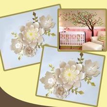 Handmade Glitter Light Pink Rose DIY Paper Flowers Gold Leaves Set Party Backdrop Nursery Wall Deco Girls Room Baby Shower Video