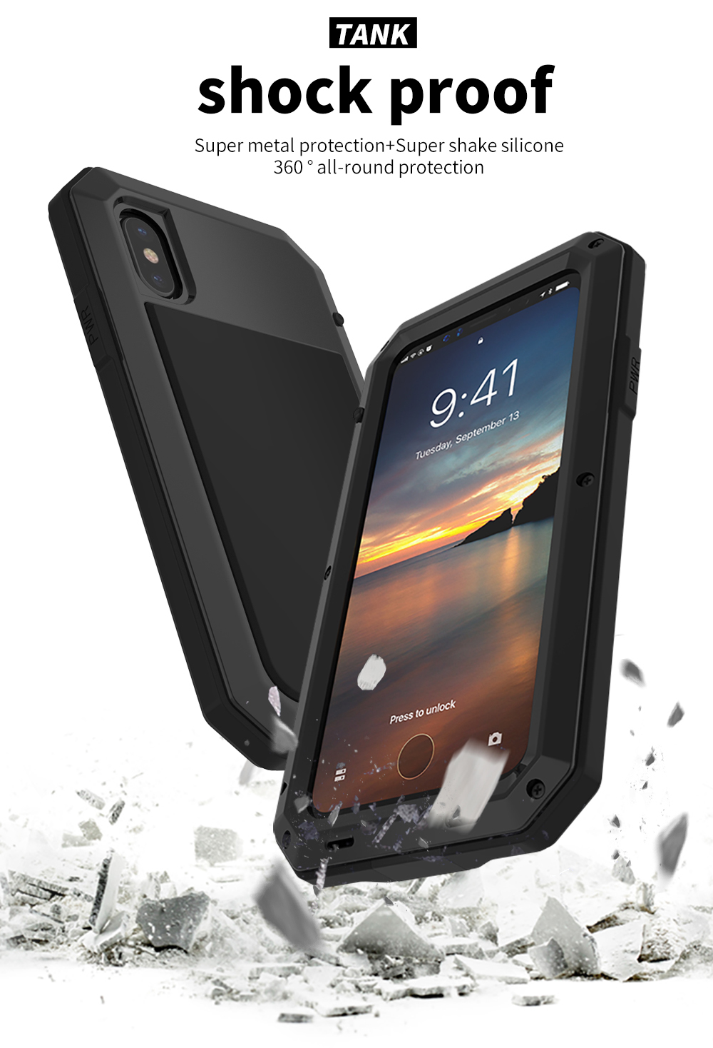 For iPhone X Tactical Waterproof Case (9)