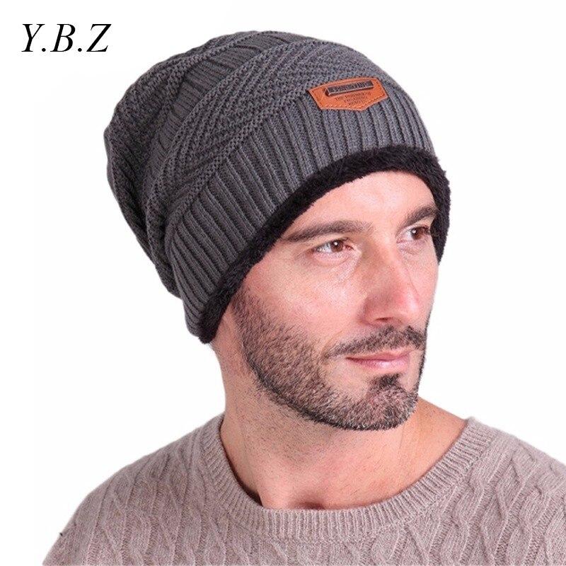 YBZ Brand Beanies Knit Scarf Men's Winter Hats