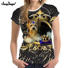 NoisyDesigns Cute York Print T Shirts for Women Tee Tops 3D Dog Elastic T-shirt Femme Fashion Basic Ladies Shirts Top Plus Size(China)