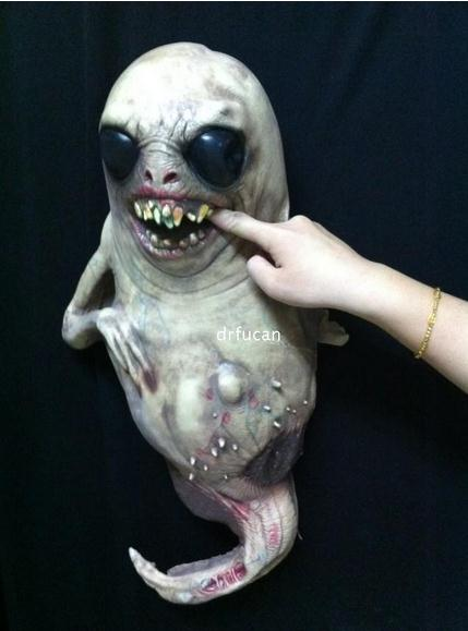 new mask latex halloween haunted house props halloween bar decoration tadpole devil horror alien scary room decoration hot sale