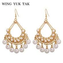 wing yuk tak Boho Simulated Pearl Tassel Earrings For Women Fashion Bohemia Gold Statement Dangle Drop Female