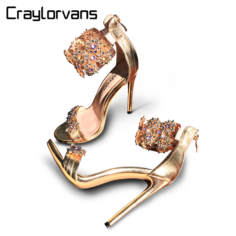 Craylorvans Top Qualité Strass Femmes Sandales 2018 Cristal d'été Femmes Sandales Talons Hauts Talons Minces Mariage Femmes Chaussures