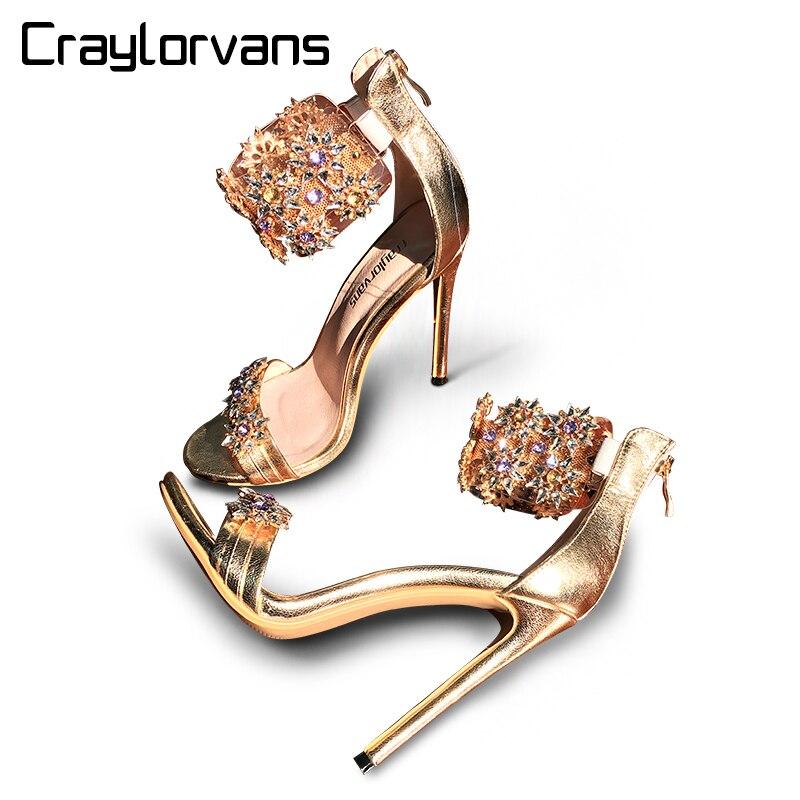 Craylorvans Top Qualité Strass Femmes Sandales 2018 Été Cristal Femmes Sandales Talons hauts Mince Talons Désherbage Femmes Chaussures