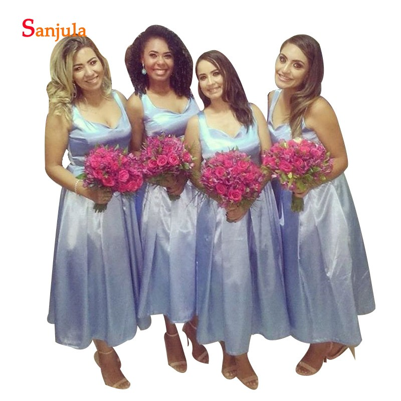 Sky Blue Wedding   Bridesmaids     Dresses   2019 Elastic Satin Tea Length Party Gowns Women A-line Simple Formal Wear