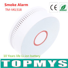 50PCS/LOT Indoor Smoke alarm TM-VKL518 10 Years Lifetime lithium-ion battery Smoke detector LED flashes red buzzer alarm wholesa