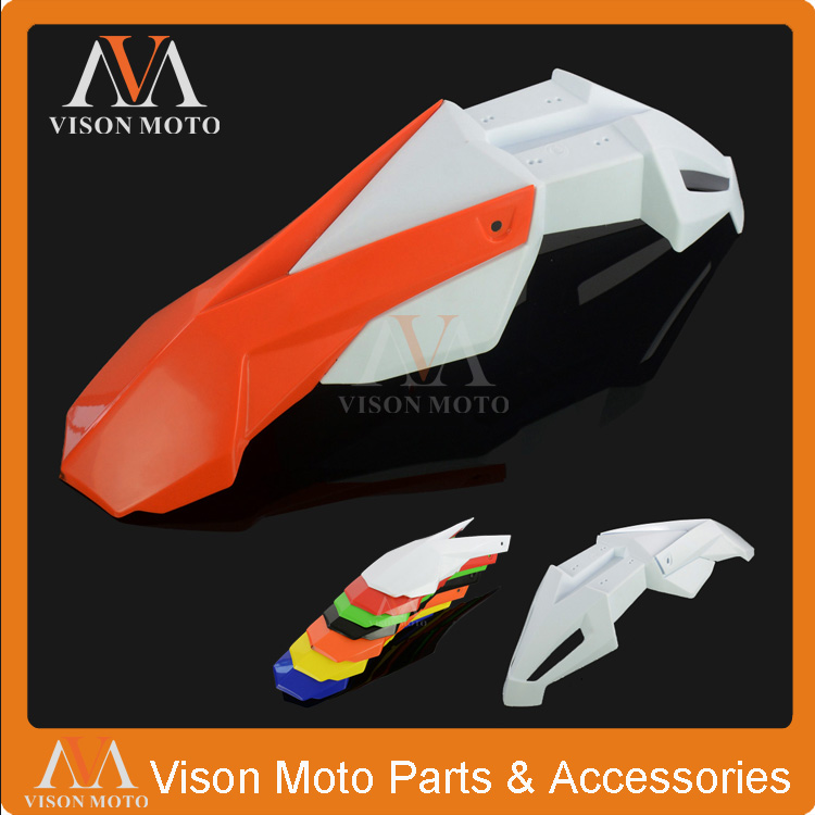 Orange+White Front Fender Mudguard For KTM EXC EXCF XC XCF XCW XCFW MX EGS SX SXF SXS SMR Dirt Bike Enduro Motorcycle orange 120l chain front rear sprockets set for ktm exc excf sx sxf sxs xc xcw xcf xcfw mx mxc lc4 smr six days motocross enduro