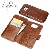 Long Steven For Samsung S6 Case Detachable Leather Card Pocket Magnet Adorption Back Cover Kickstand