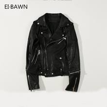 2019 New Arrival Autumn Women Jackets Genuine Leather Black Moto&Biker Short Zipper Lapel Fashion Ladies Real Sheepskin