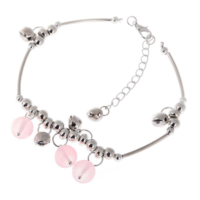 YANTU New Trendy Sliver Tone Chain Anklet Bracelet Charm Beads Bell Foot Jewelry Barefoot Beach Anklet For Women[GE09047/YT]