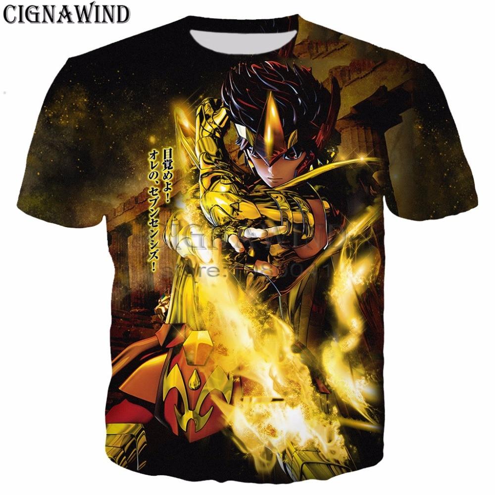 New Anime Saint Seiya 3d Tee Shirts Harajuku Style Summer Tops Hipster Gold Saints T Shirt Men/Women Gold Saints T-Shirts