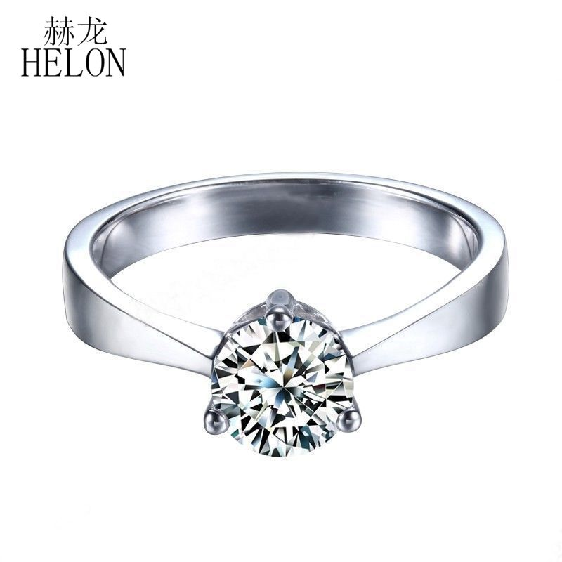 HELON 0.80CT Round Cut Moissanites Ring 925 Sterling Silver Engagement Jewelry Lab Grown Moissanites Diamond Wedding Fine Ring transgems 1 3ctw princess cut lab grown moissanite diamond engagement wedding ring platinum plated 925 sterling silver