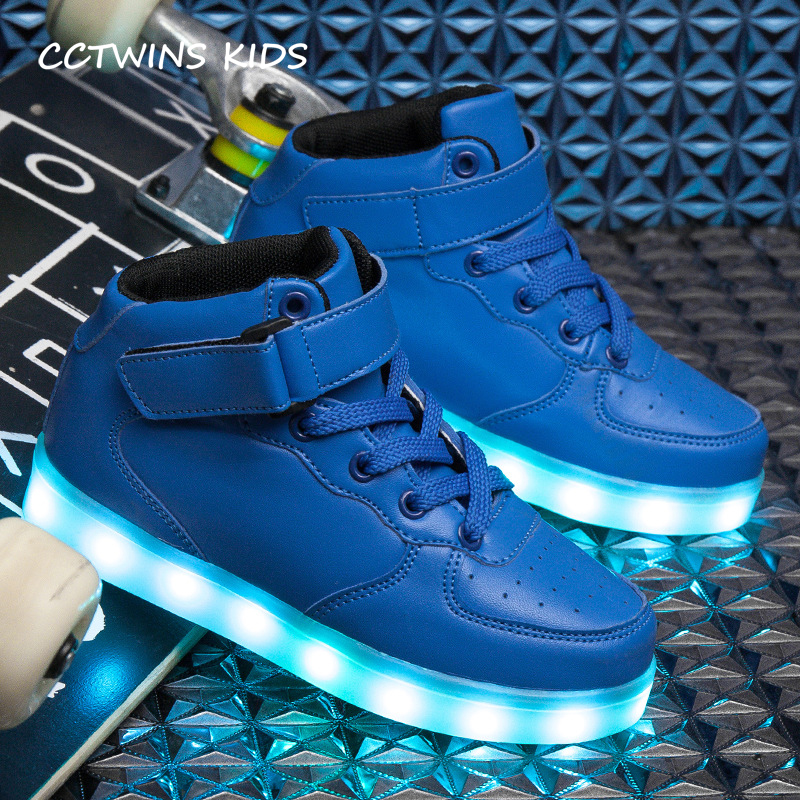 CCTWINS KIDS 2017 Children Kid Boy Fashion Luminous Baby Girl Pu Leather Sport Led Sneaker Toddler Glowing Light USB Shoe F1519