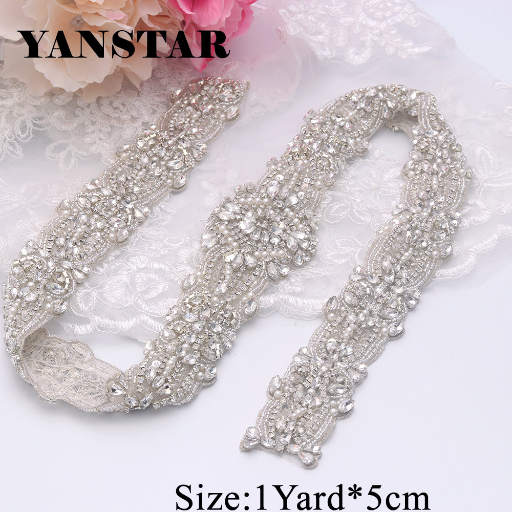 YANSTAR 1 Yard Rhinestones Appliques Trims Wedding Belts Sew On Bridal  Sashes trim Clear Silver Rhinestones 9539d291d42e