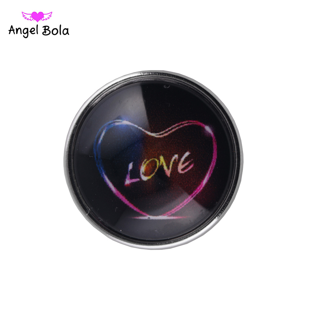 12PCS/LOT Interchangeable 18mm Glass Love Valentines Day Design Snaps Buttons Fit ginger snaps Bracelets NS002-85 Free Shipping