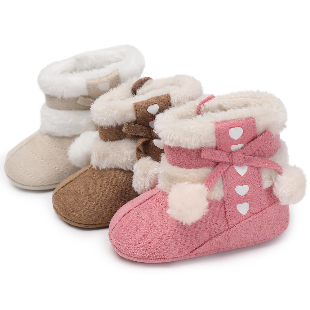 Infant Solid Baby Girl New Born Winter Booties Super Warm Snow Faux Fleece Anti-slip On Shoes 0-18 MonthsFirst Walkers