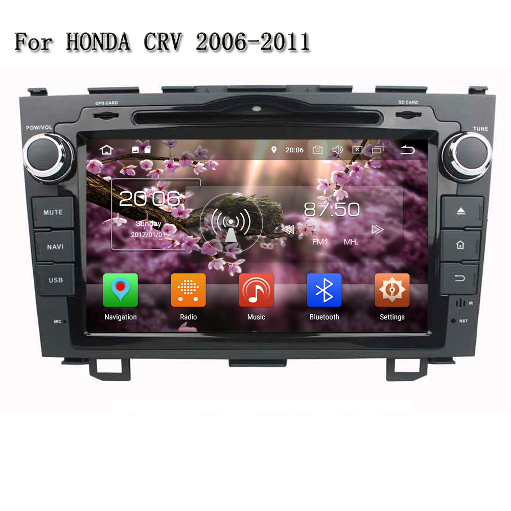 8 Inch Cortex A53, 8-core Touch Screen Bluetooth 3G/4G WIFI Android 8.0 Car Stereo DVD Player GPS Navi For Honda CRV 2006-2011