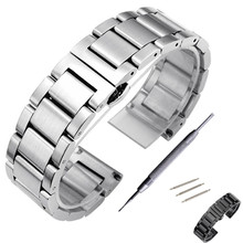 цена на Watchstrap 18mm 20mm 22mm 24mm Black Metal Brushed Watch Bracelet Stainless Steel WatchBand Folding Buckle Watch Band Strap