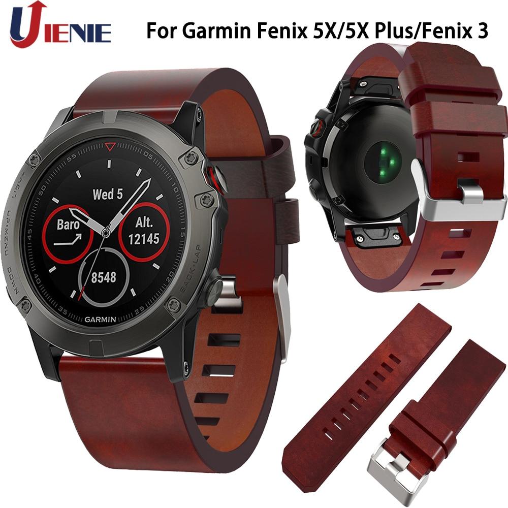Leather Watchband Strap For Garmin Fenix 5X/5XPlus/3/3HR/6X Band Smart Watch 26mm Quick Fit Wristband Bracelet For Fenix 6X
