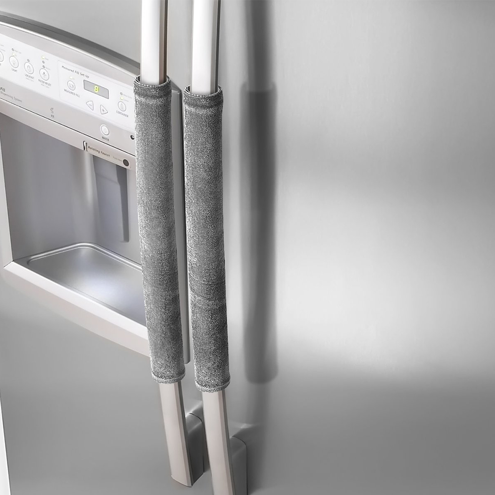 2PCS Refrigerator Velvet Door Handle Cover Decor Handles Kitchen Antiskid Protector Gloves for Fridge Oven Keep Off Fingerprints