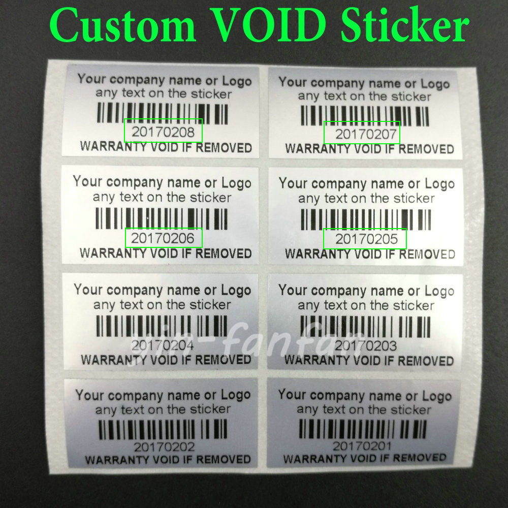 Us 12 1 11 off200 silver custom printed tamper proof warranty void labels stickers seals in stationery stickers from office school supplies on