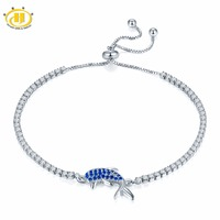 Hutang Solid 925 Sterling Silver Created Sapphire Dolphin Adjustable Bracelets For Women S Girl S Crystal